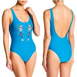 Vigoss Floral Embroidered One Piece Swimsuit Sz M